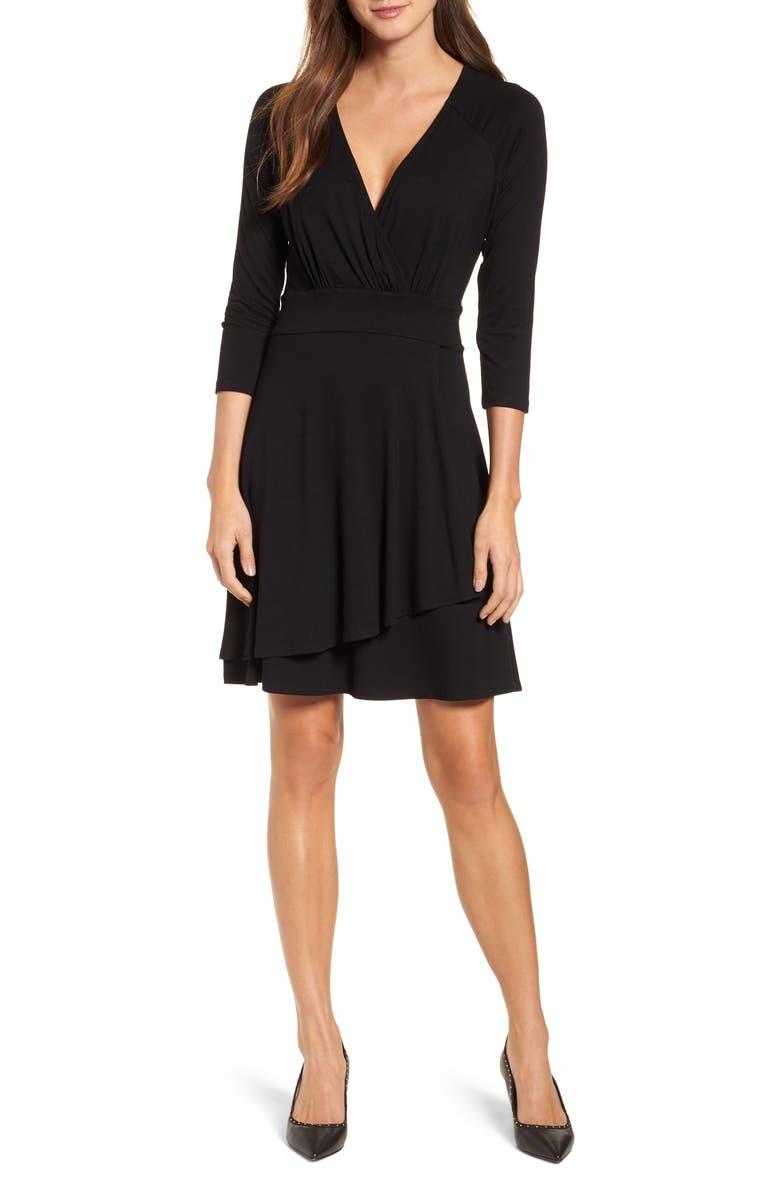 KAREN KANE Wrap Style Drape Front Dress, Main, color, BLACK