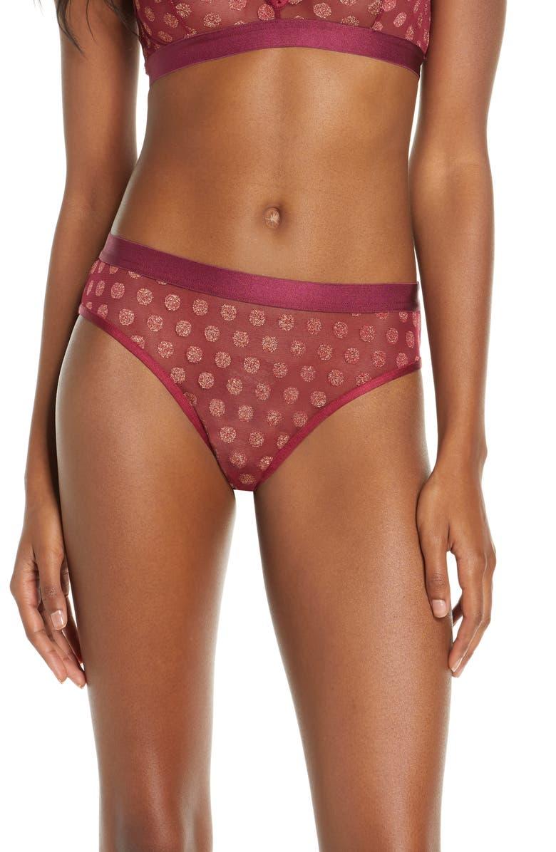 PALINDROME Primrose Polka Dot Bikini, Main, color, SANGRIA