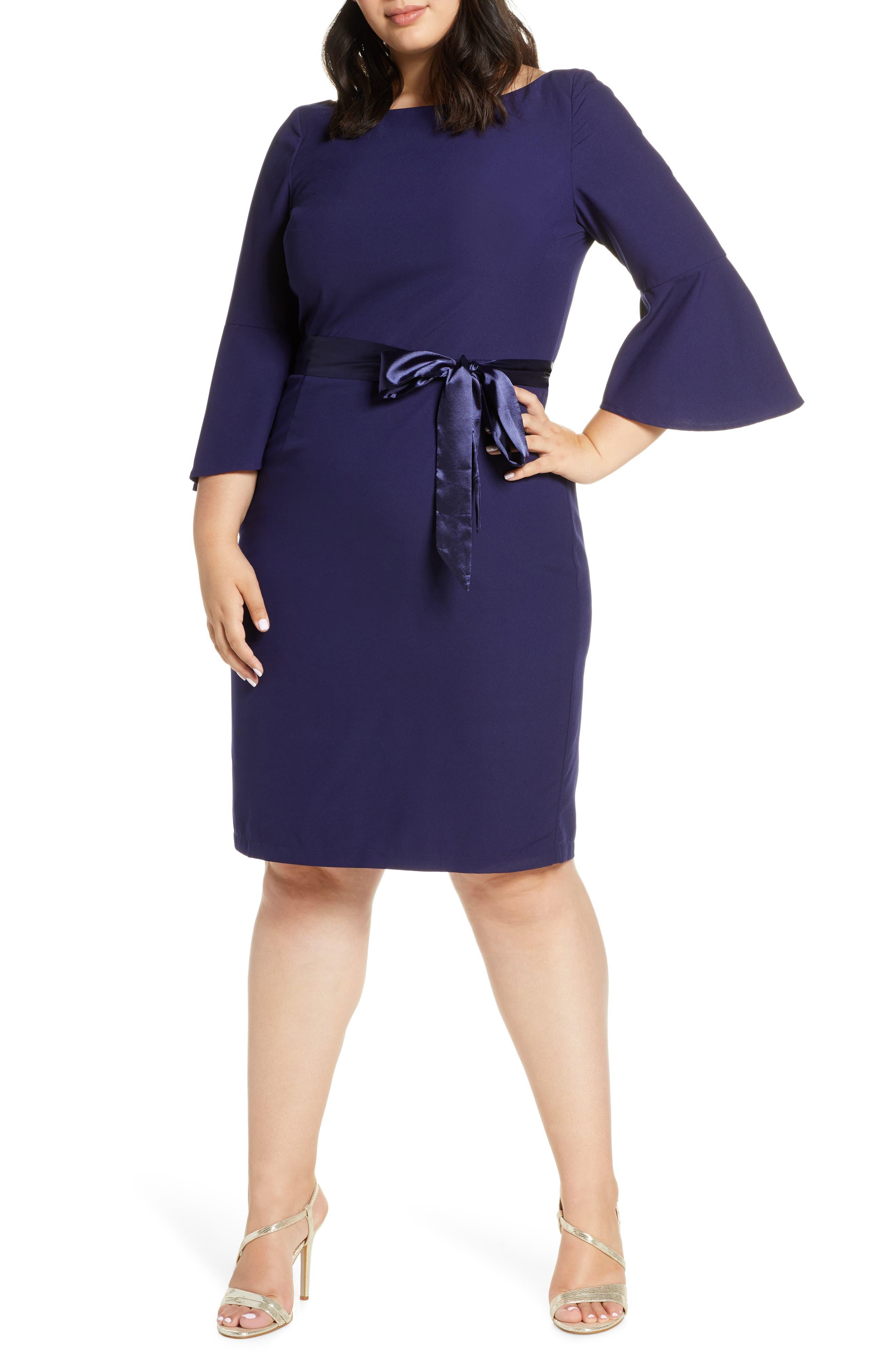 Plus Size Chi Chi London Beau Satin Tie Cocktail Dress, Blue
