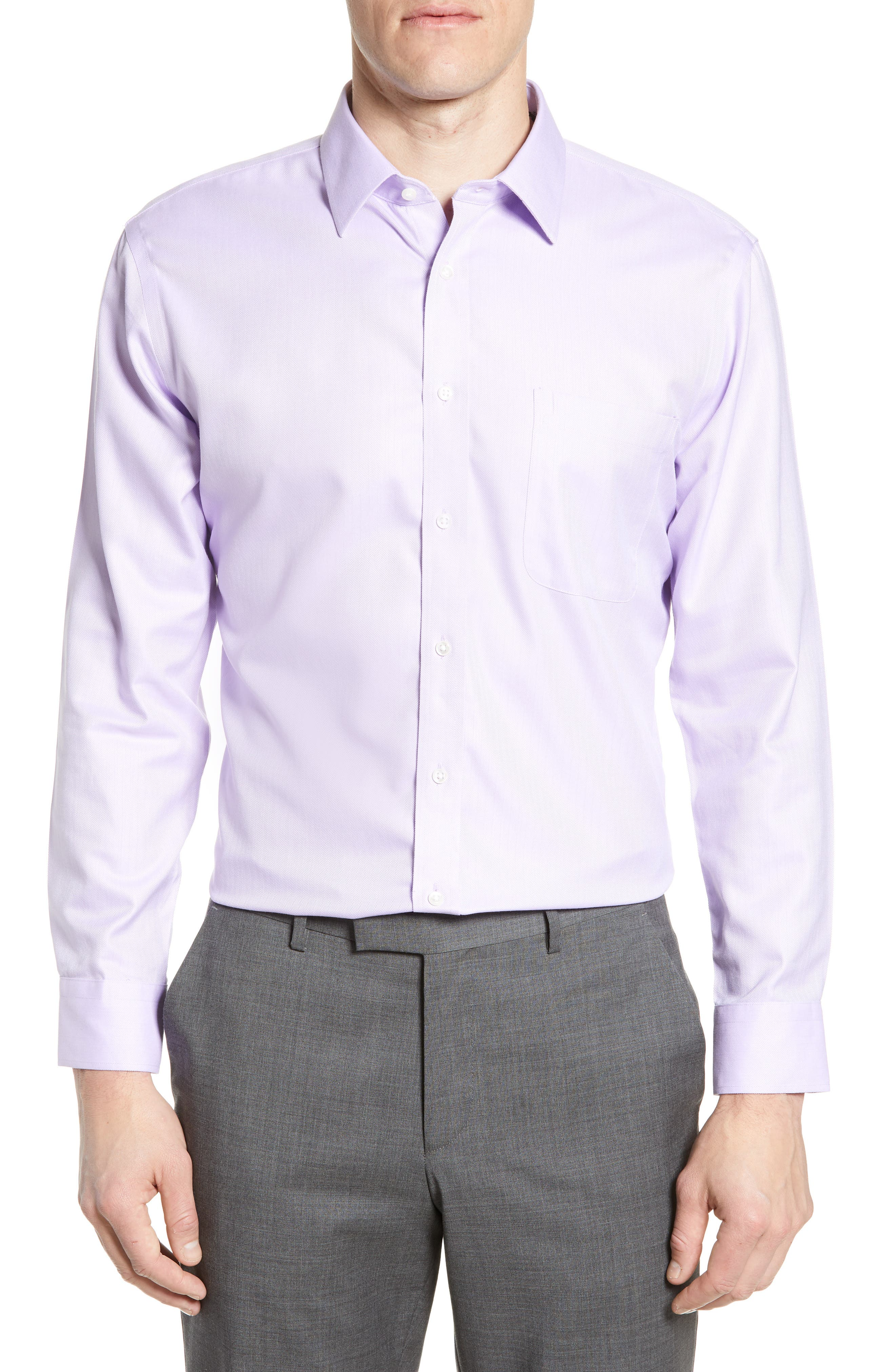 Nordstrom Shop Smartcare(TM) Trim Fit Herringbone Dress Shirt - Purple