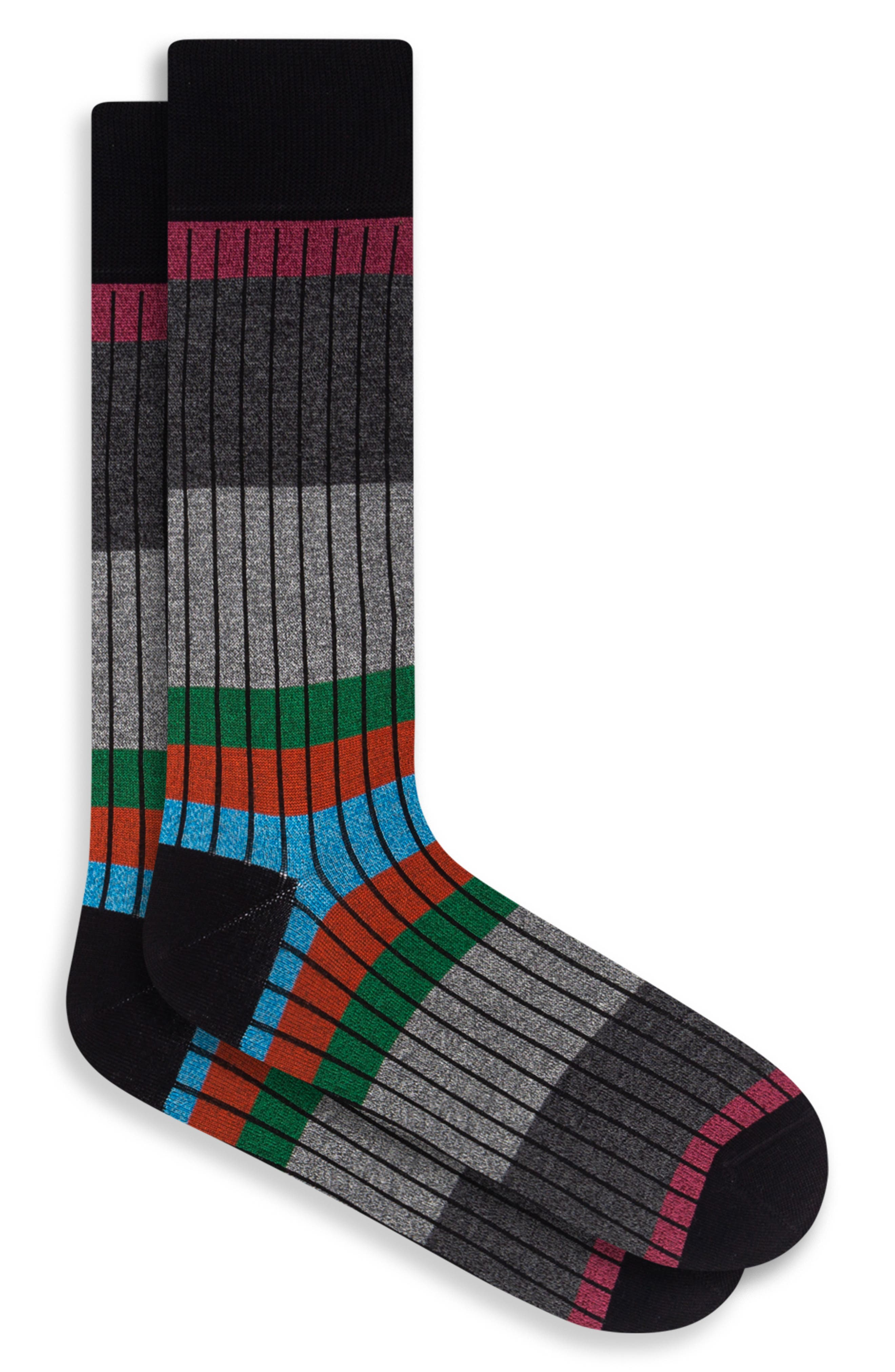 Mixed stripes bring maxed style to stretchy cotton-blend socks crafted to bring comfort and color to any look. Style Name: Bugatchi Stripe Socks. Style Number: 6096582. Available in stores.