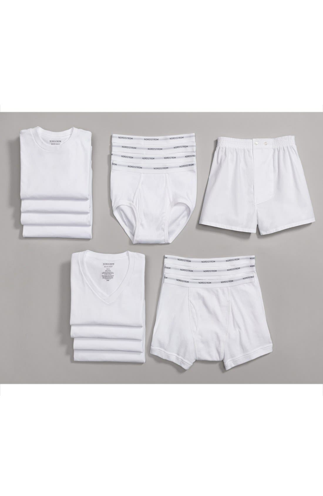 ,                             4-Pack Regular Fit Supima<sup>®</sup> Cotton V-Neck T-Shirts,                             Alternate thumbnail 9, color,                             WHITE