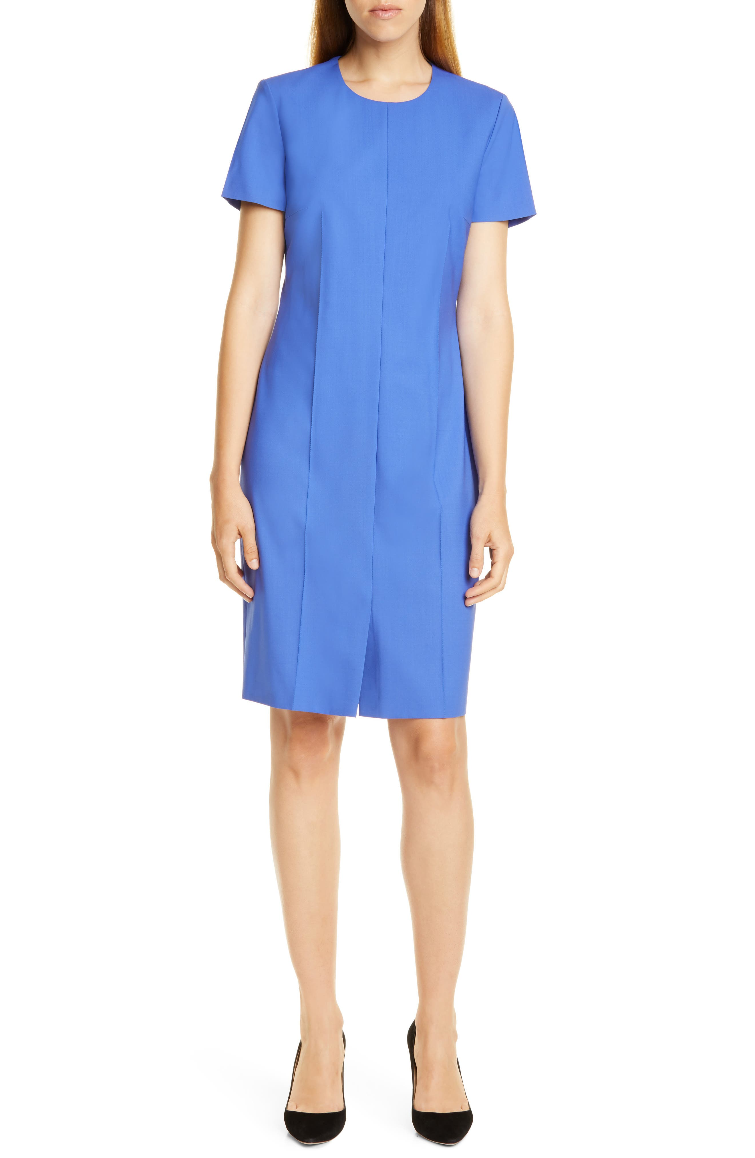 Boss Daliria Stretch Wool Sheath Dress, Blue