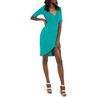 Leith Ruched Wrap Body-Con Dress, Green