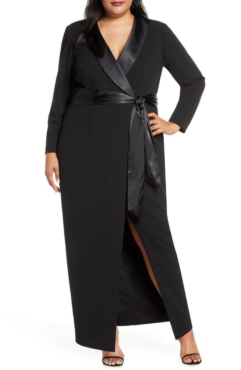 Tuxedo Faux Wrap Long Sleeve Gown