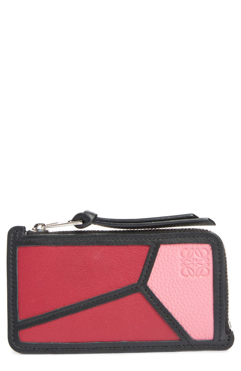 LOEWE Puzzle Leather Zip Coin Case, Main, color, WILD ROSE/ RASPBERRY