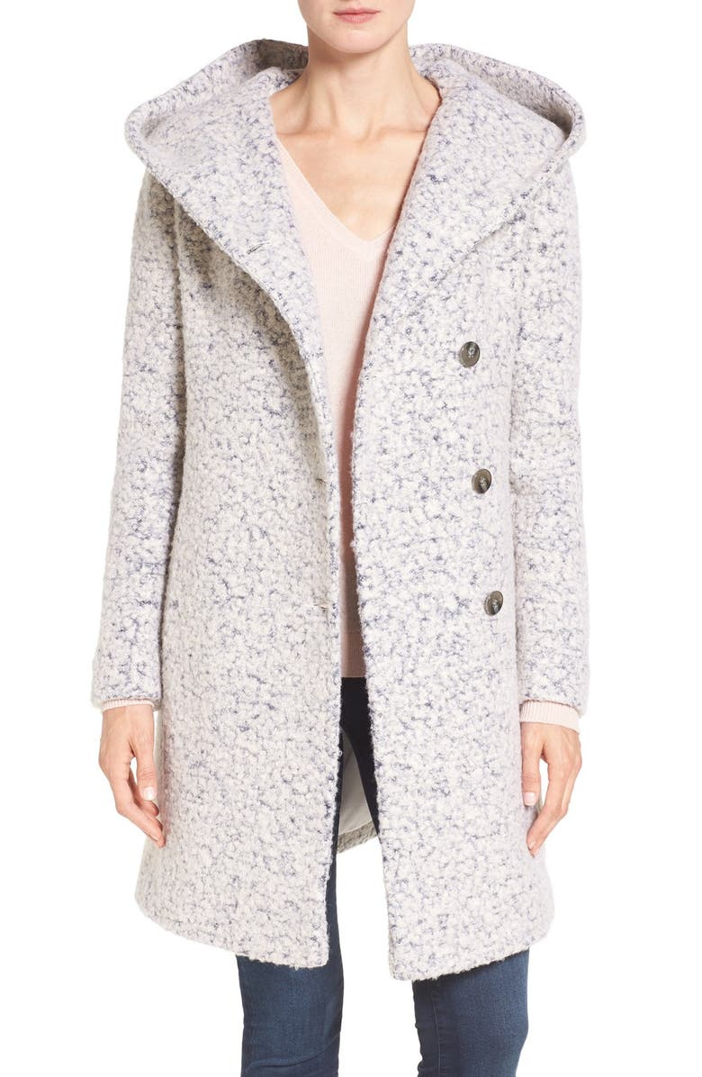 COLE HAAN SIGNATURE Hooded Bouclé Coat, Main, color, WHITE/ GREY
