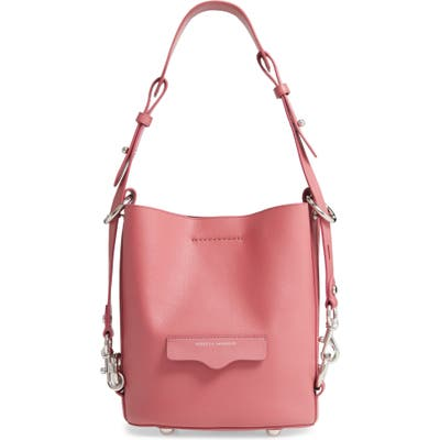 Rebecca Minkoff Small Utility Convertible Leather Bucket Bag - Pink