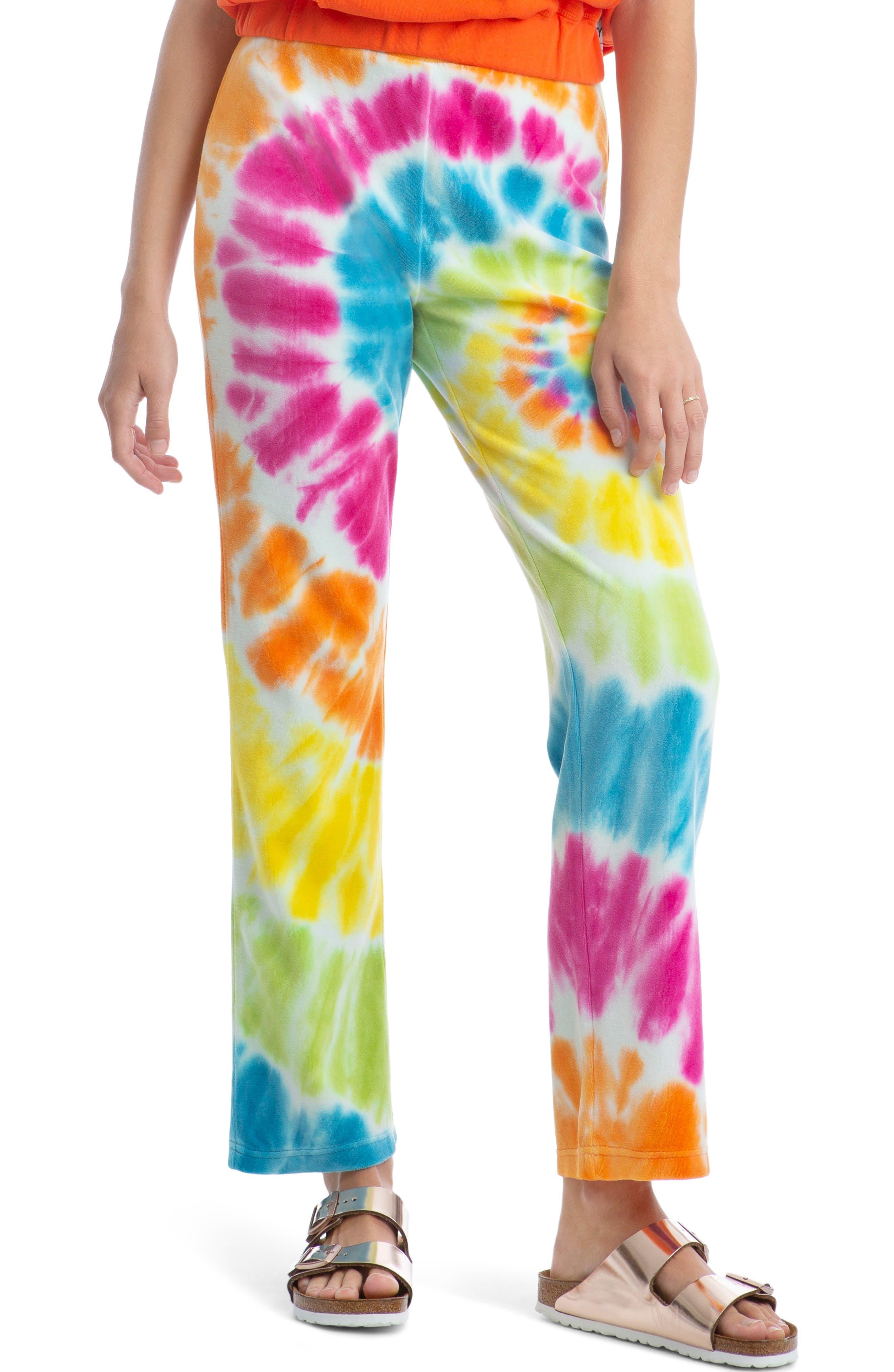 Tie Dye Velour Flare Pants