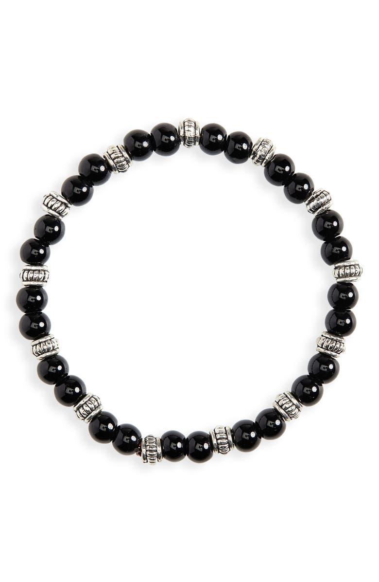 NORDSTROM MEN'S SHOP Beaded Bracelet, Main, color, 001