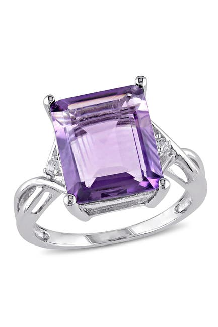 Image of Delmar Sterling Silver Emerald Cut Amethyst & White Topaz Accented Fashion Ring
