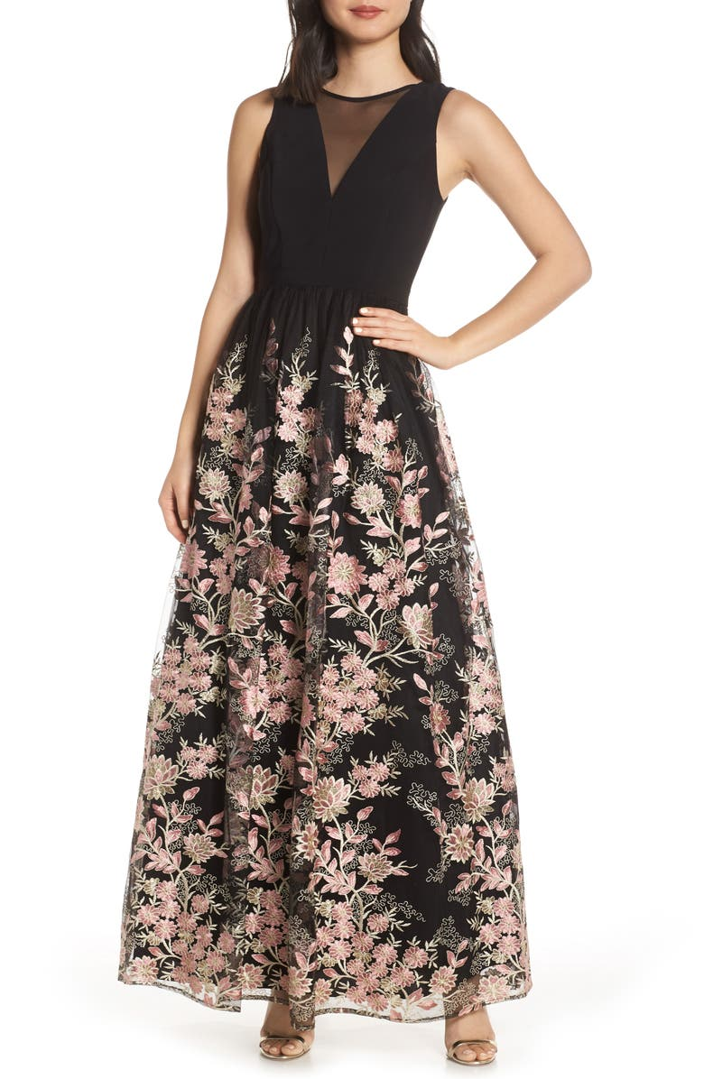 Morgan Co Embroidered Mesh Evening Dress