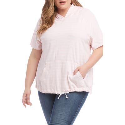 Plus Size Karen Kane Stripe Short Sleeve Cotton Hoodie, Pink