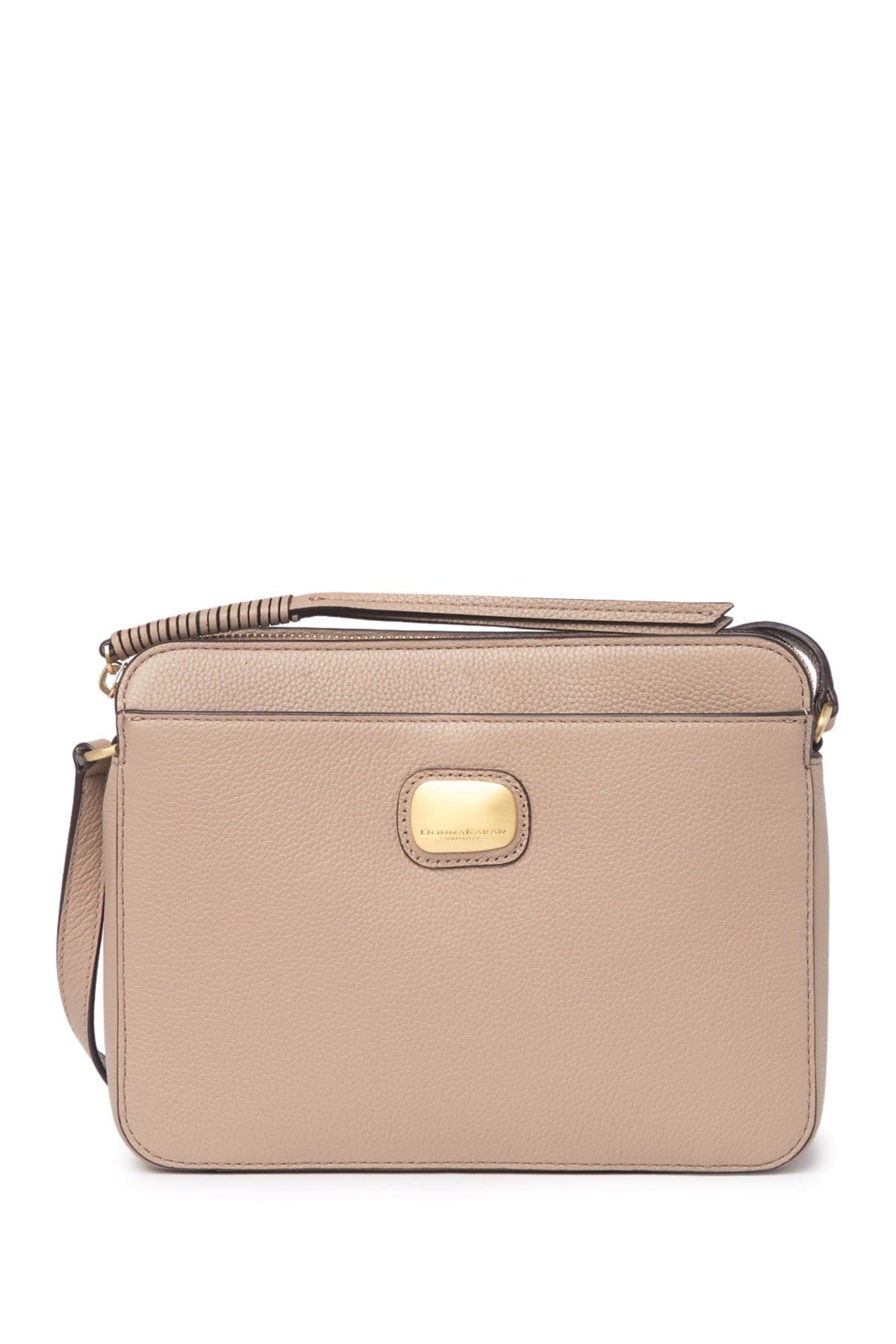 Image of Donna Karan Leather Triple Compartment Crossbody Bag
