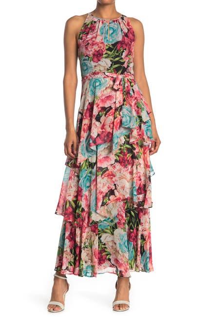 Image of TAHARI ASL Floral Tiered Maxi Dress