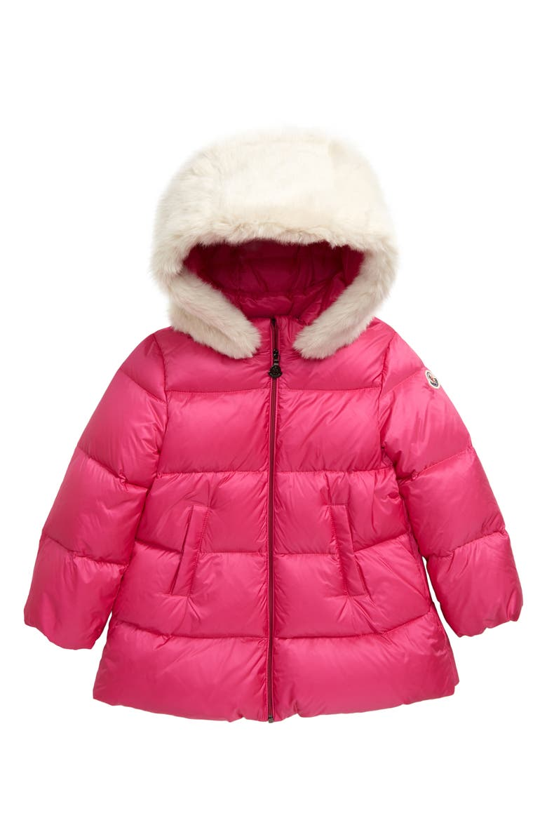 MONCLER Caen Down Coat with Faux Fur Hood, Main, color, FUCHSIA