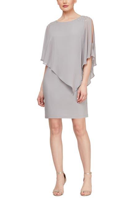 Image of SLNY Chiffon Overlay Beaded Detail Sheath Dress