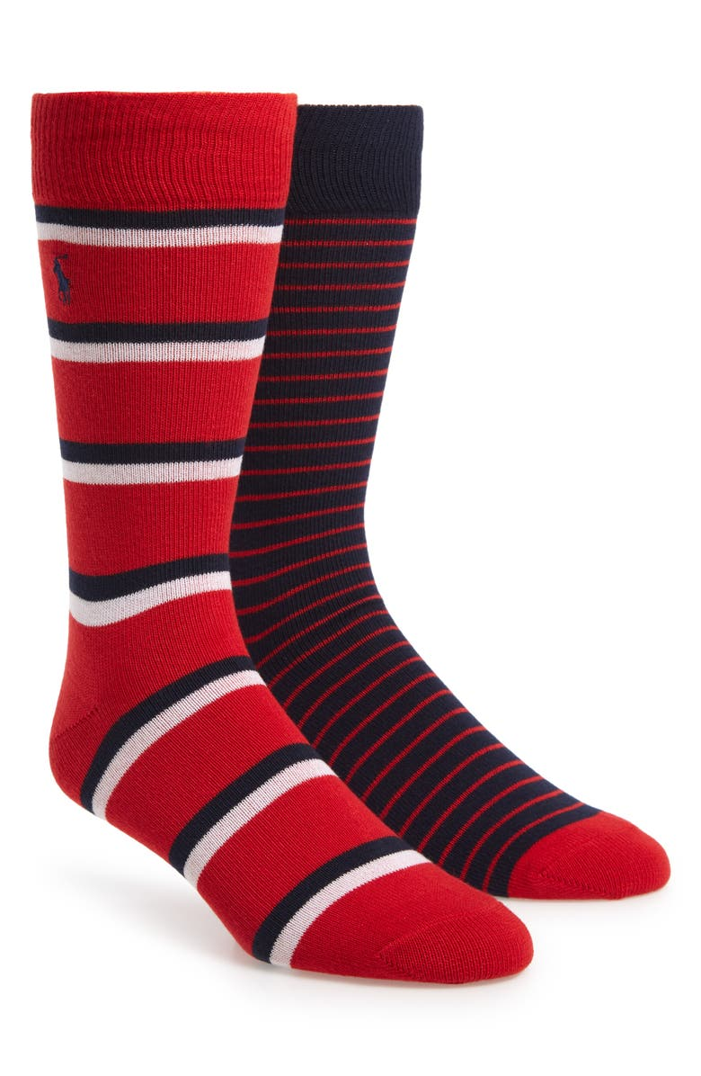 POLO RALPH LAUREN 2-Pack Stripe Socks, Main, color, RED