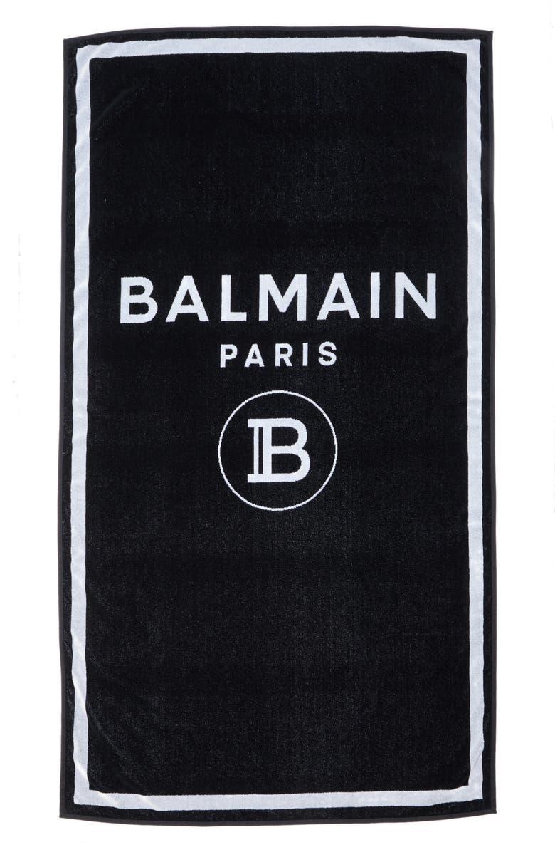 BALMAIN Logo Beach Towel, Main, color, BLACK/ WHITE