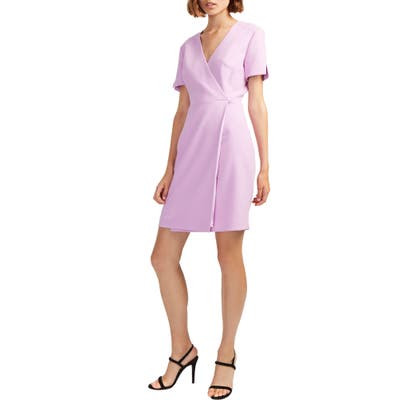 French Connection Whisper Faux Wrap Dress, Pink
