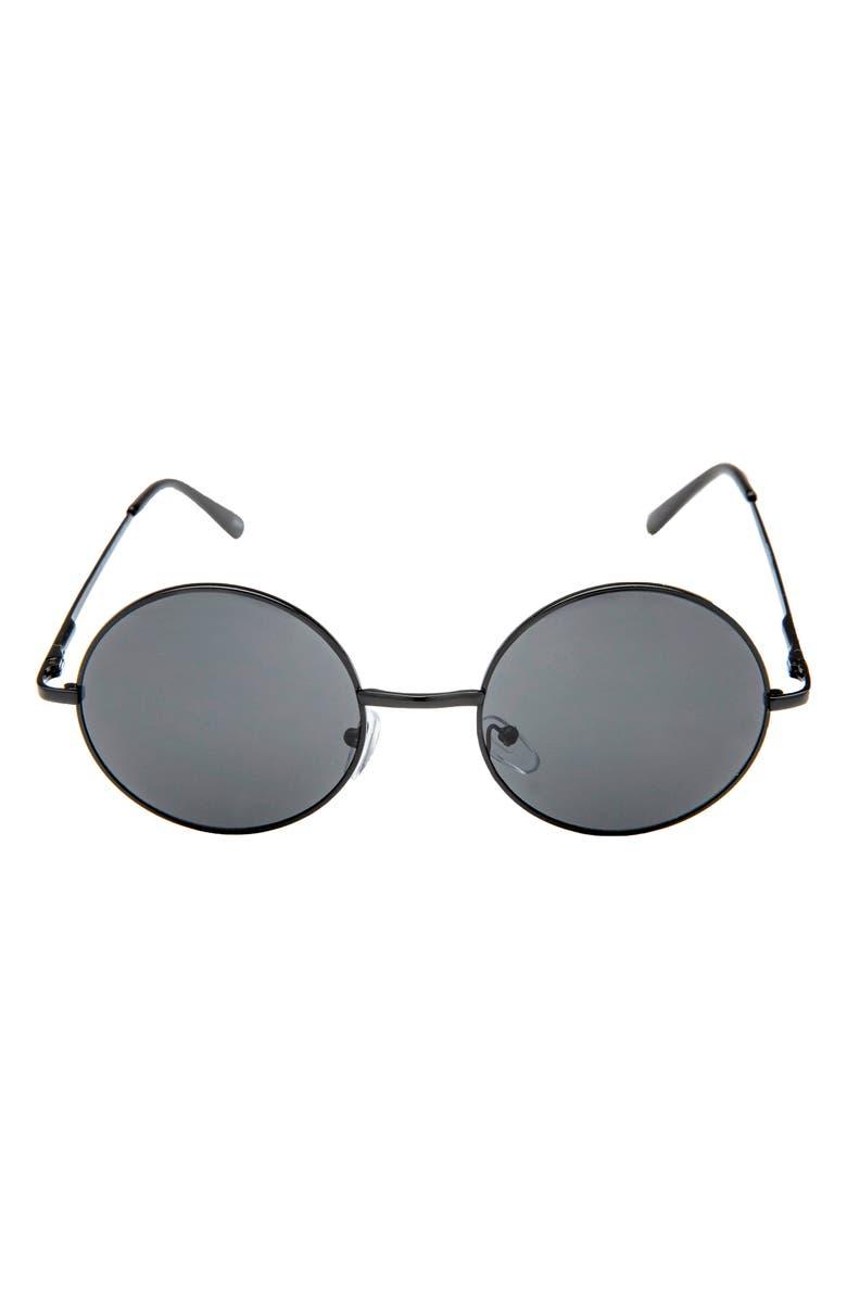 RAD + REFINED Round Sunglasses, Main, color, BLACK