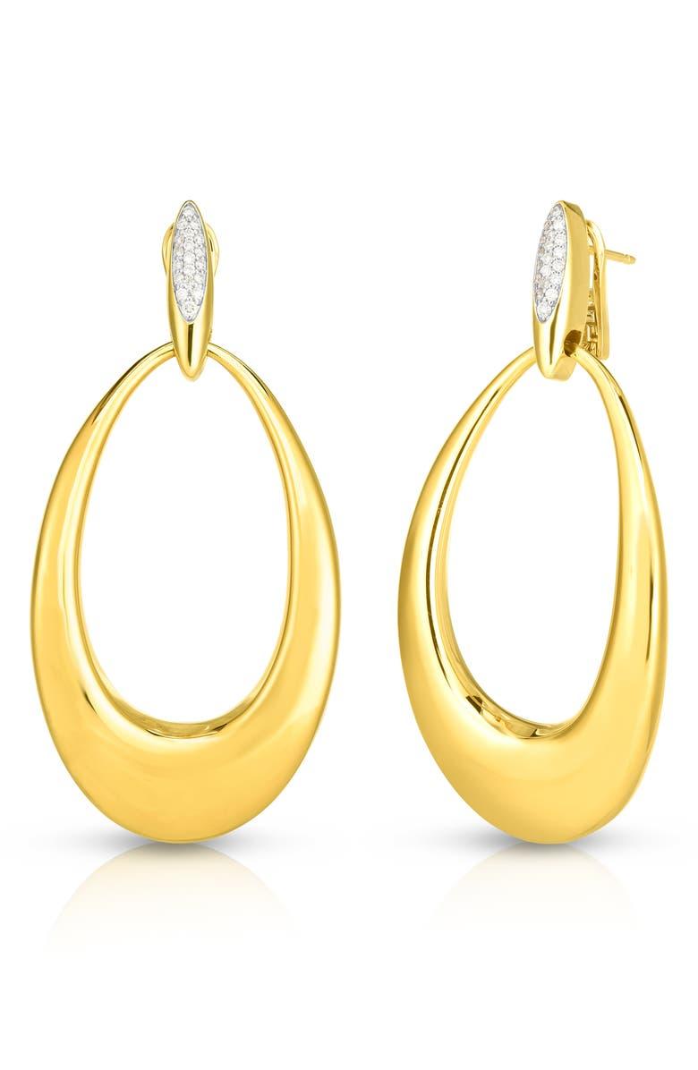 ROBERTO COIN Classico Oro Diamond Hoop Earrings, Main, color, YELLOW GOLD