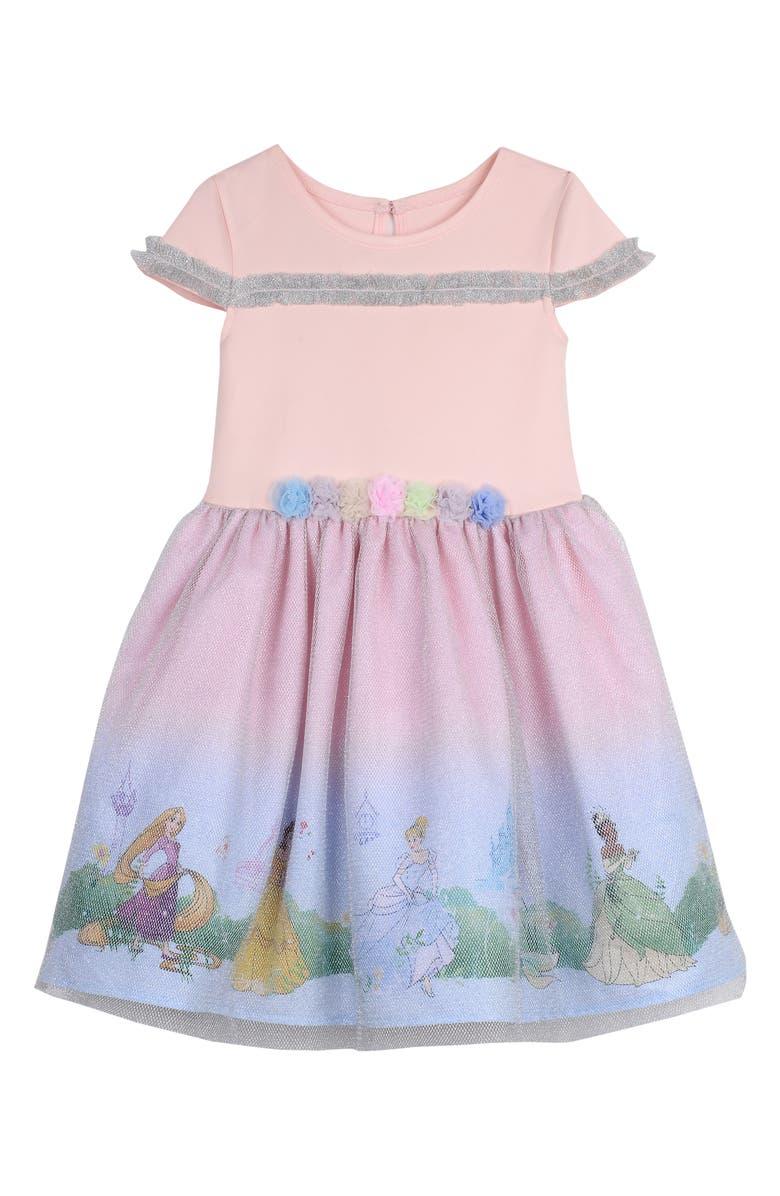 PIPPA & JULIE Disney Princess Border Print Dress, Main, color, MULTI