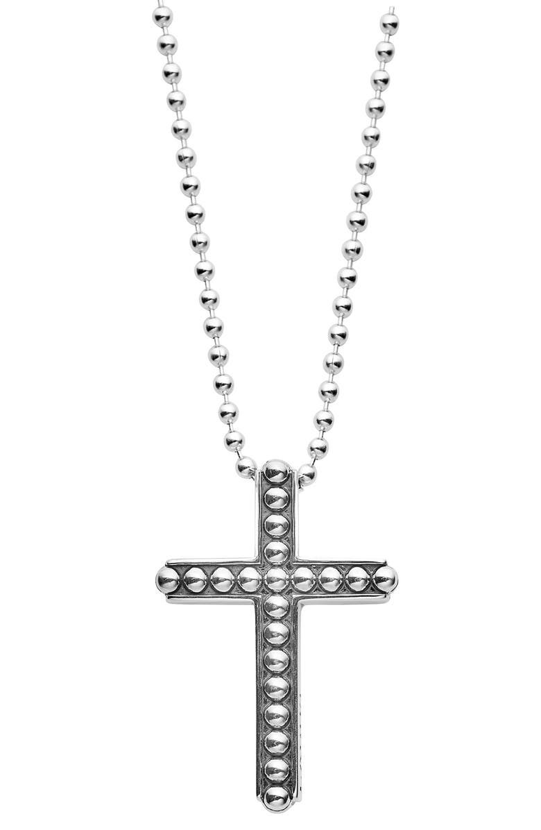 LAGOS Signature Caviar Cross Pendant Necklace, Main, color, SILVER