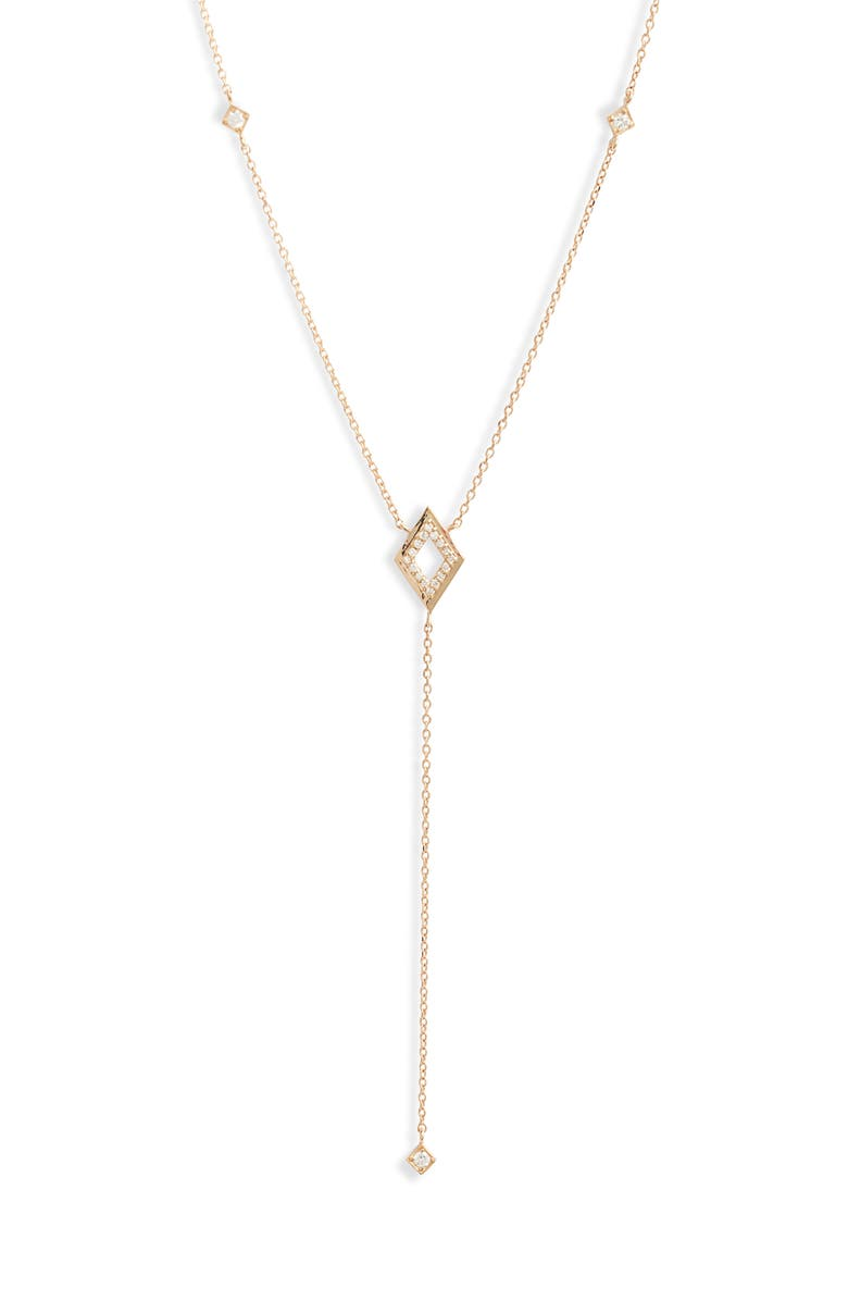 ANZIE Cleo Rhombus Pavé Diamond Y-Necklace, Main, color, GOLD/ DIAMOND