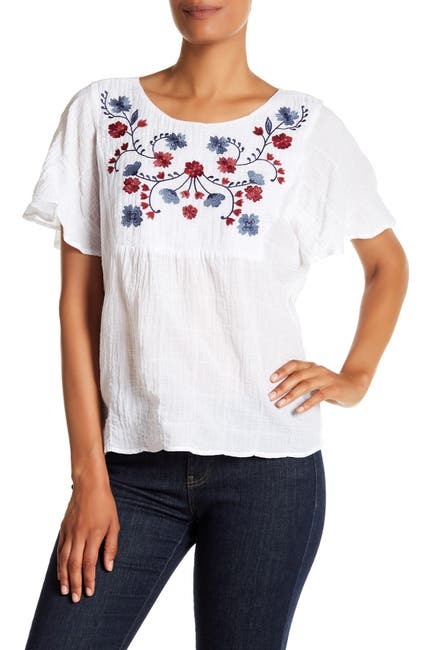 Image of Vince Camuto Floral Embroidered Ruffle Sleeve Blouse