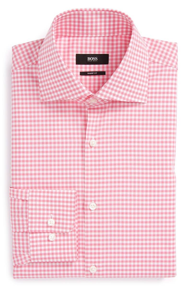 BOSS 'Miles' Sharp Fit Check Dress Shirt, Main, color, 671