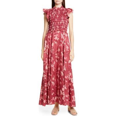 Sea Monet Floral Print Smocked Maxi Dress, Burgundy