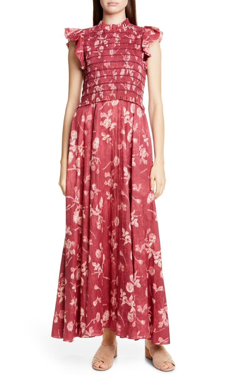 SEA Monet Floral Print Smocked Maxi Dress, Main, color, MERLOT MULTI