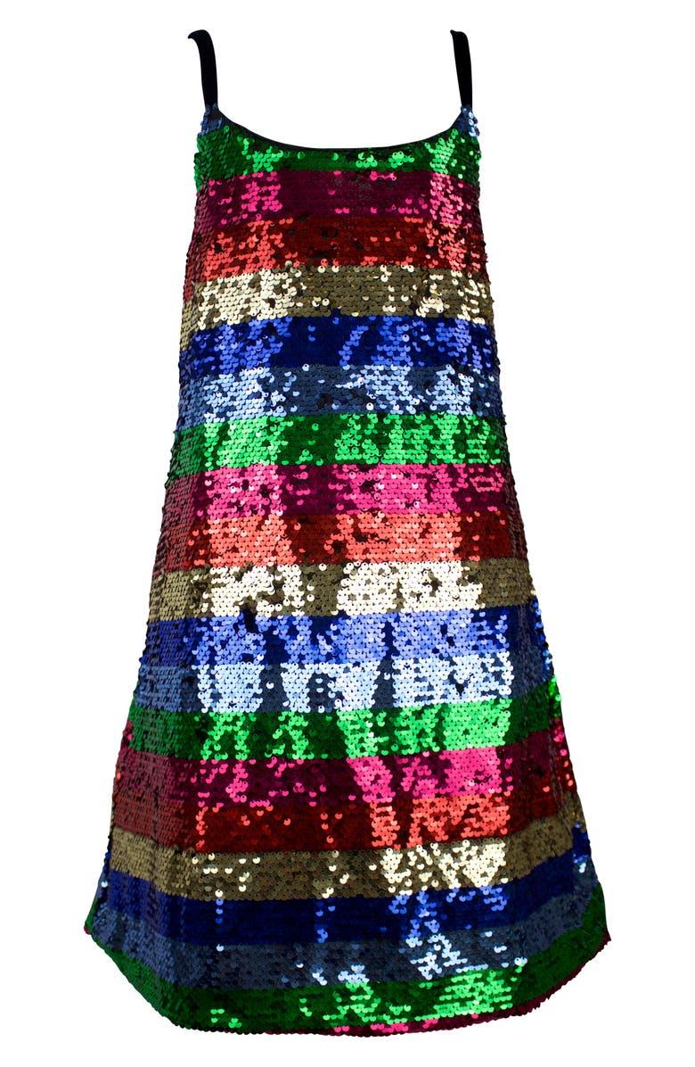 LOLA & THE BOYS Chasing Rainbows Sequin Dress, Main, color, MULTI