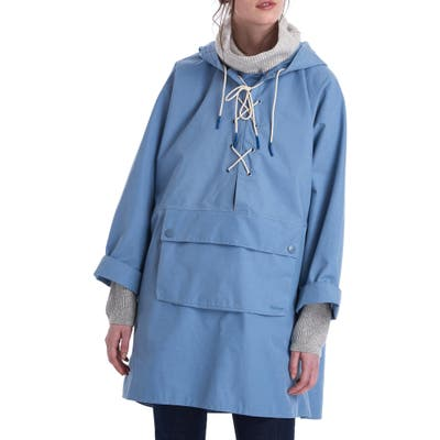 Barbour X Alexachung Pip Lace-Up Waterproof Hooded Raincoat, US / 12 UK - Blue
