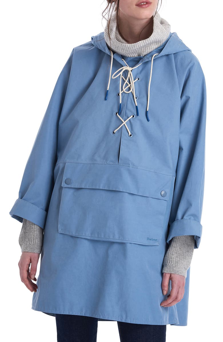 BARBOUR x ALEXACHUNG Pip Lace-Up Waterproof Hooded Raincoat, Main, color, FADE BLUE
