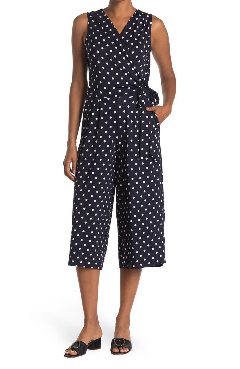 NINA LEONARD Surplice Culotte Crop Jumpsuit, Main, color, NAVY/ IVORY