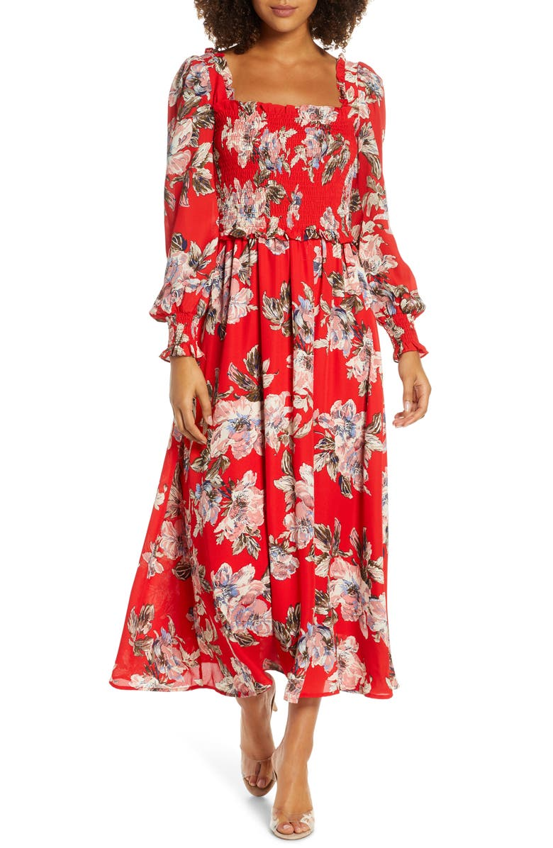 CHELSEA28 Smocked Long Sleeve Midi Dress, Main, color, RED FLORAL
