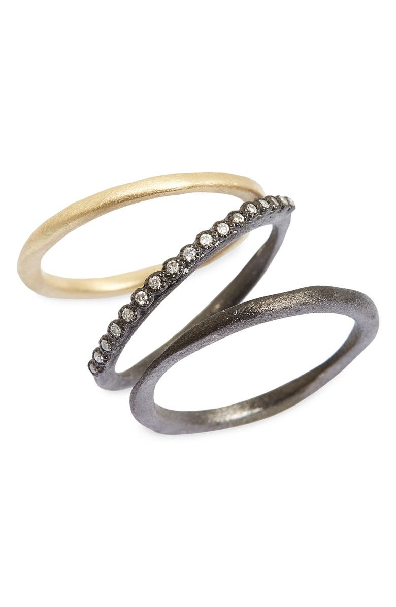 ARMENTA Old World Diamond Stacking Rings, Main, color, GOLD