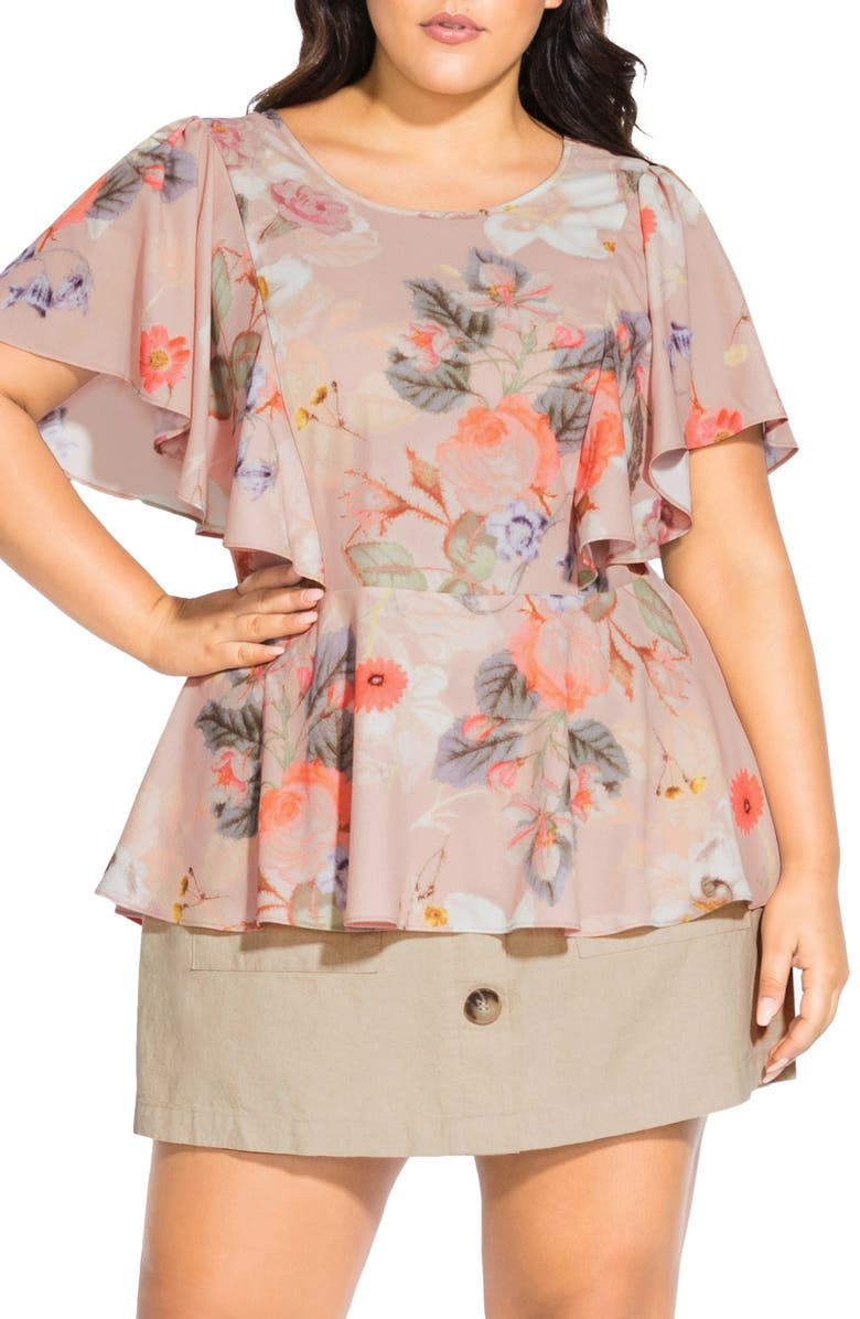 CITY CHIC Summer Rose Flutter Sleeve Peplum Top, Main, color, 900