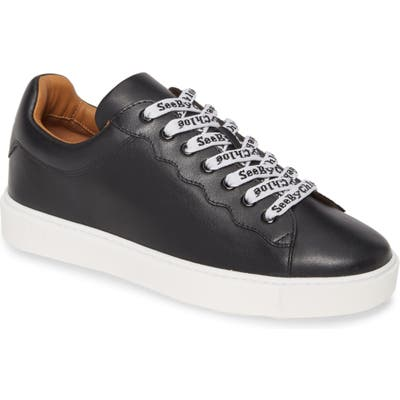 See By Chloe Logo Lace Sneaker, Black