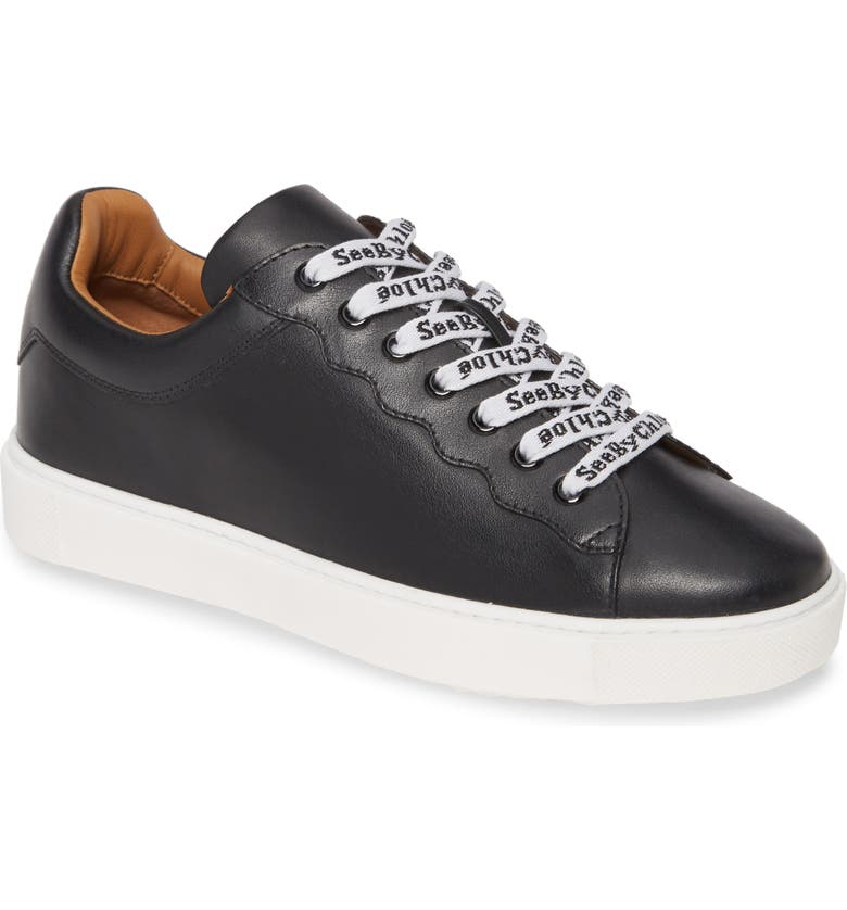 SEE BY CHLOÉ Logo Lace Sneaker, Main, color, BLACK