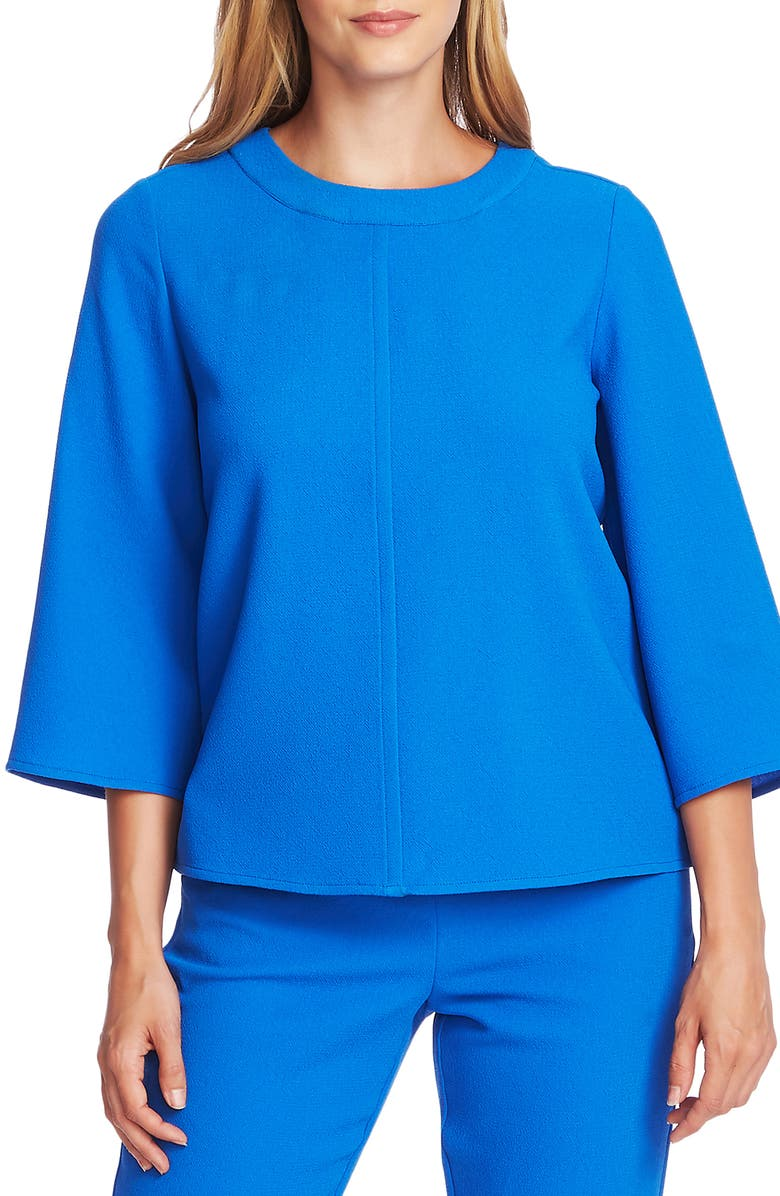 VINCE CAMUTO Bell Sleeve Parisian Crepe Top, Main, color, DEEP RIVER