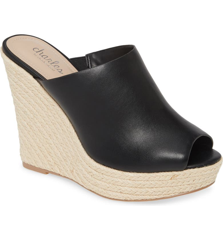 CHARLES BY CHARLES DAVID Andes Espadrille Mule, Main, color, BLACK LEATHER