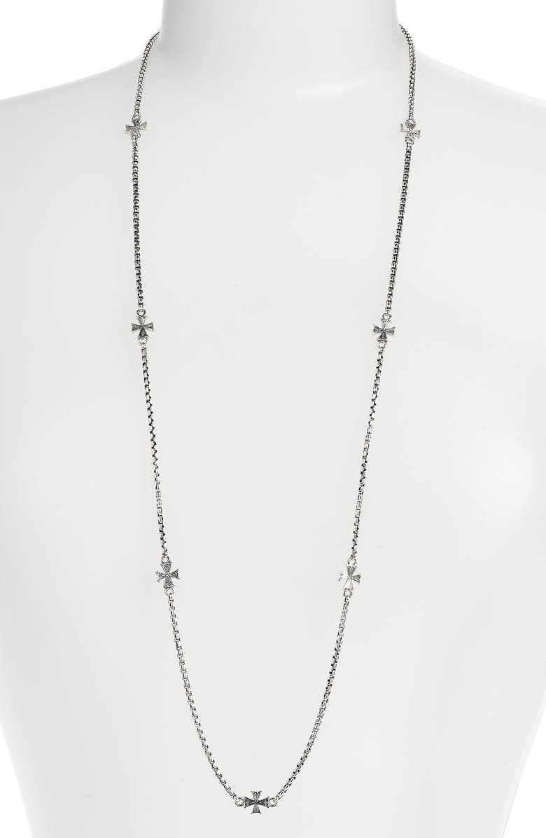 KONSTANTINO 'Classics' Long Station Necklace, Main, color, SILVER