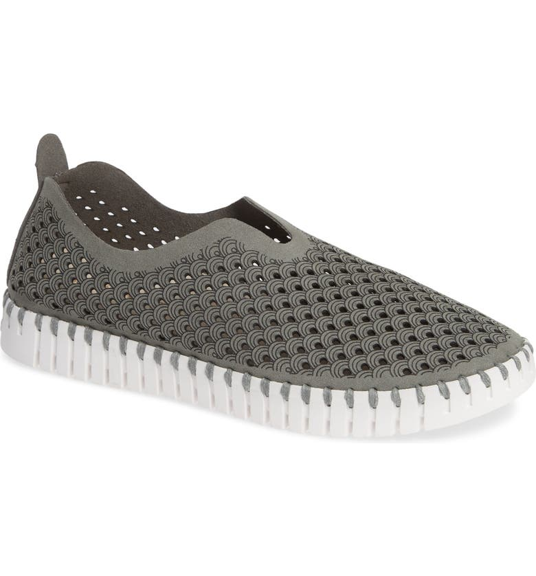 ILSE JACOBSEN Tulip 139 Perforated Slip-On Sneaker, Main, color, GREY FABRIC
