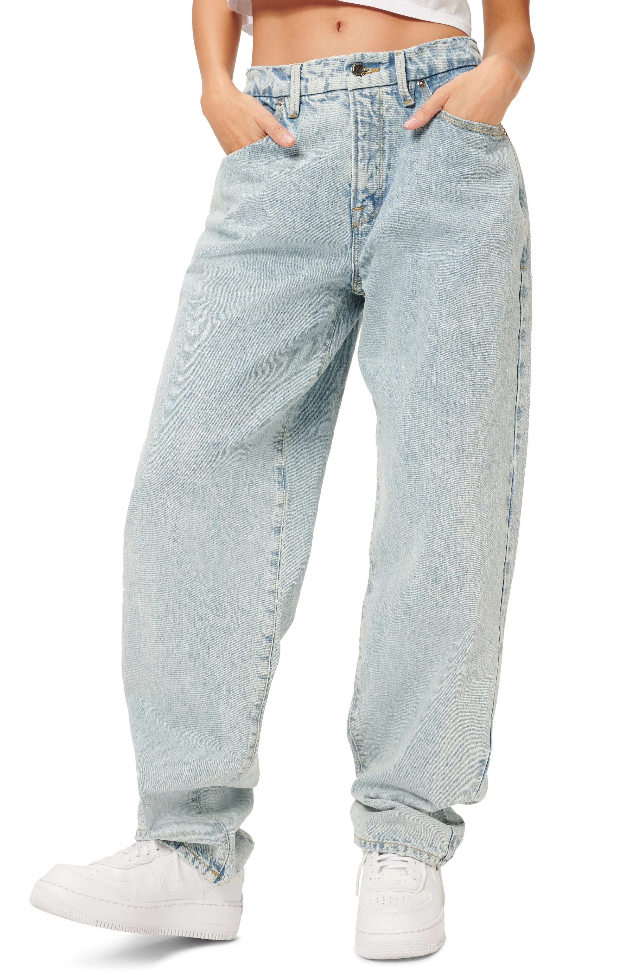 Women's Good American Good 90S High Waist Loose Fit Nonstretch Jeans