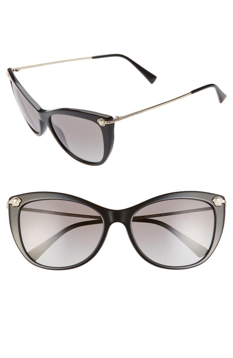 e61a38ceb1879 57mm Cat Eye Sunglasses, Main, color, BLACK/ GOLD/ BLACK GRADIENT