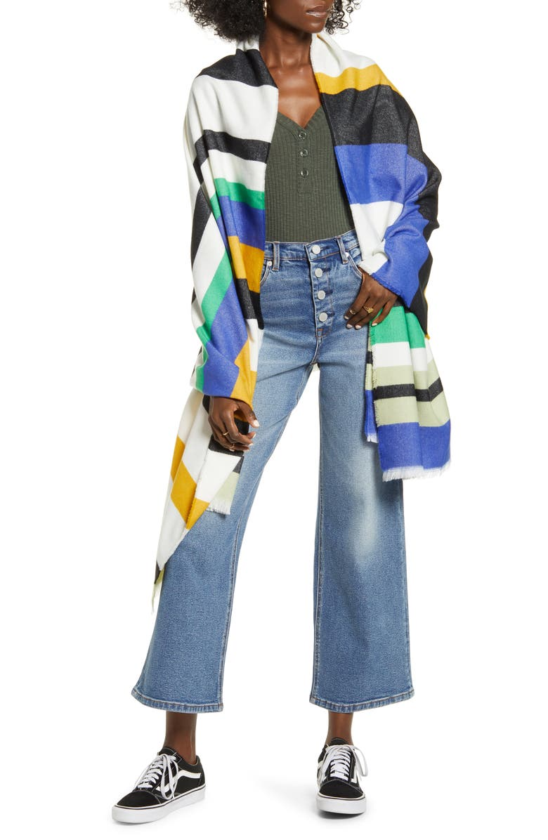 BP. Stripe Blanket Wrap, Main, color, 310