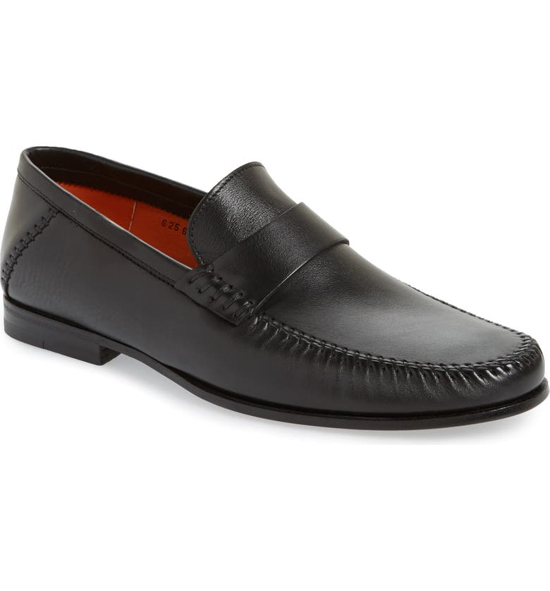 SANTONI Paine Loafer, Main, color, BLACK LEATHER